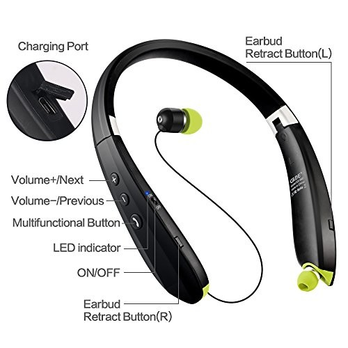 2f3a837c08e Hobest Foldable Bluetooth Headphones, Upgraded Wireless Bluetooth Headset  Earphones with Mic, Noise Cancelling Neckband Sweatproof Sport Headphones  with ...
