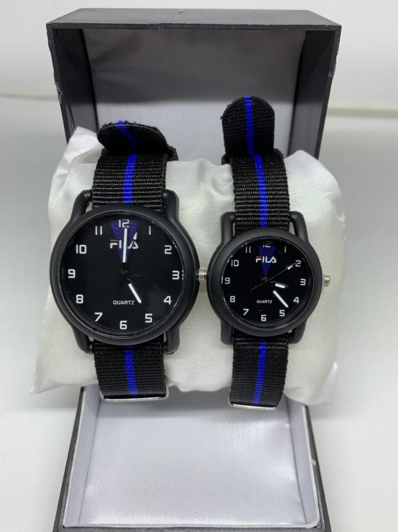 Jam tangan FILA KANVAS BLUE CP  Tali kanvas couple diameter cowo 4cm cewe 3cm