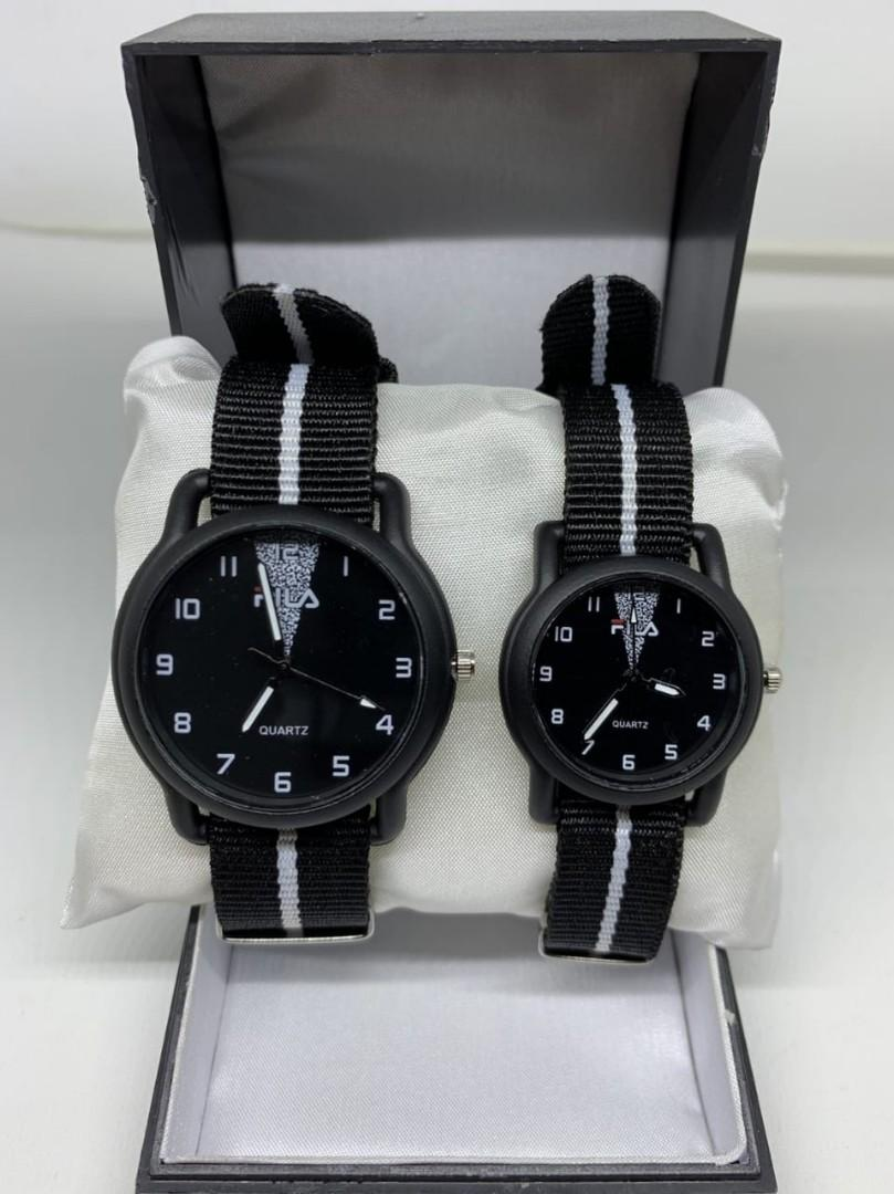 Jam Couple FILA KANVAS WHITE CP  Tali kanvas couple diameter cowo 4cm cewe 3cm
