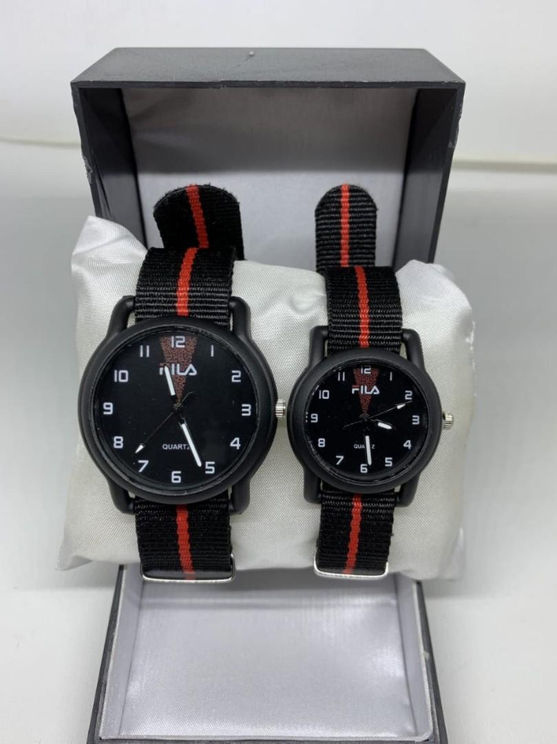 Jam Tangan Couple FILA KANVAS RED CP  Tali kanvas couple diameter cowo 4cm cewe 3cm