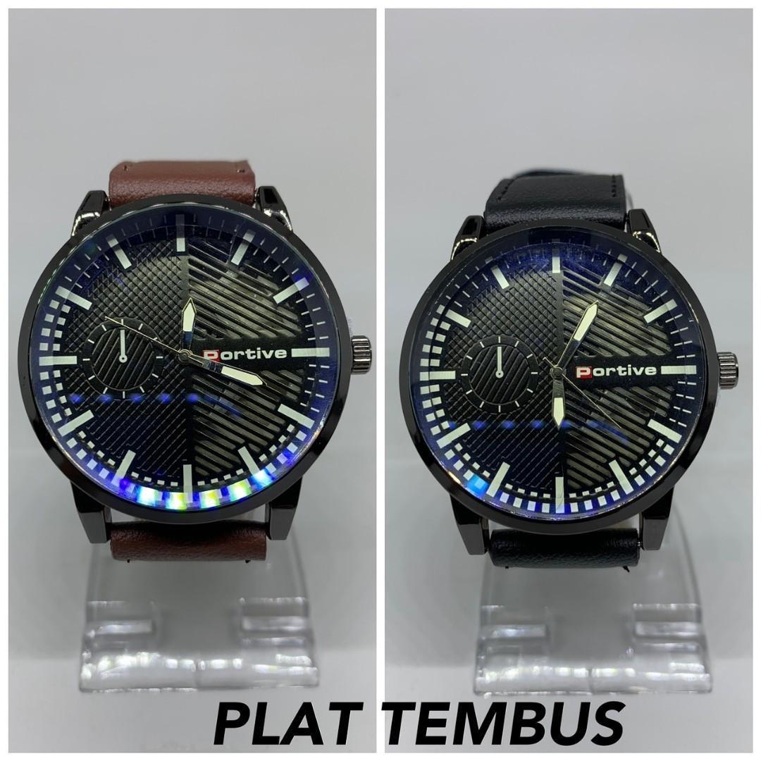 Jam tangan KENZO KULIT  Tali kulit tebal kaca tebal plat tembus pandang diameter 5cm