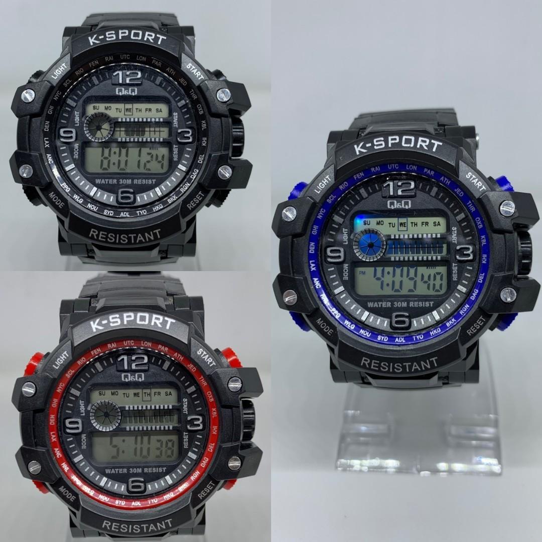 Jam tangan QNQ VISUAL DIGITAL  Digital diameter 5cm TAHAN AIR + LAMPU LED + STOPWATCH + ALAREM + TANGGAL + HARI + BULAN
