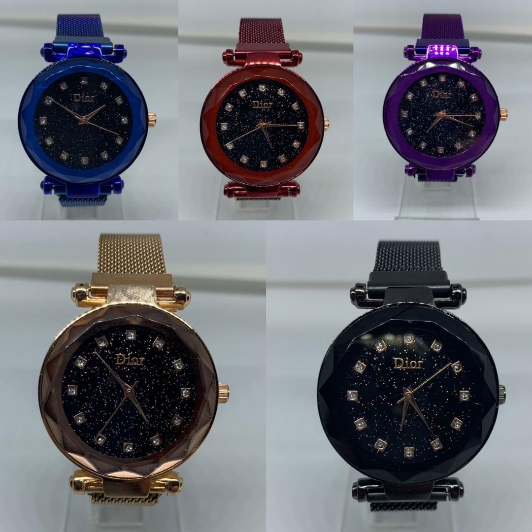 Jam Tangan Wanita DIOR MAGNET COLOR  Dior magnet dari bahan rantai pasir kaca tebal belimbing lux diameter 4cm