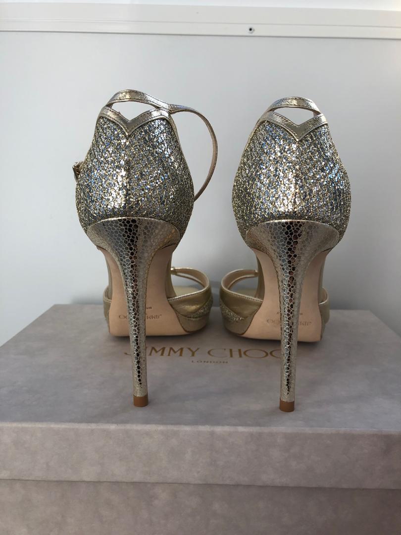 Jimmy Choo Talia 100 Sandals- Champagne Gold and Glitter