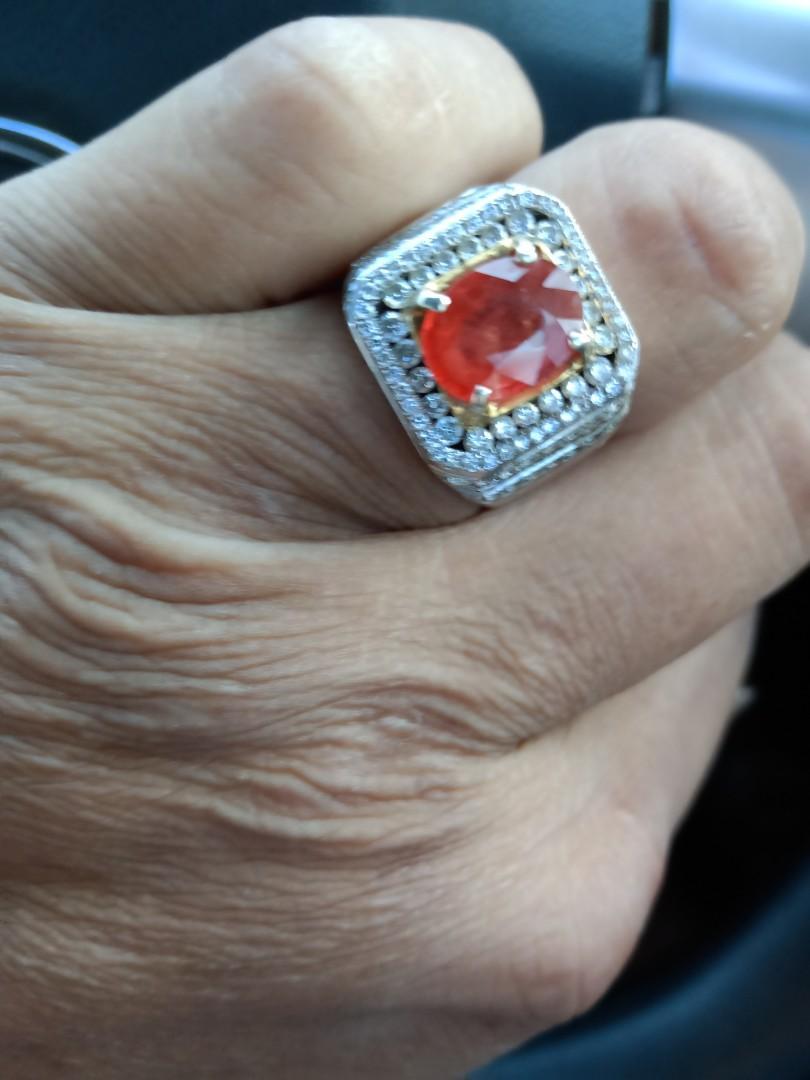 Jual slow Padpharadja Saphire asli Sri Lanka  5 crt colour cristal clear cincin full Diamond total 70 an x 0.15 crt vvs1 ring base white gold ori plus red gold.