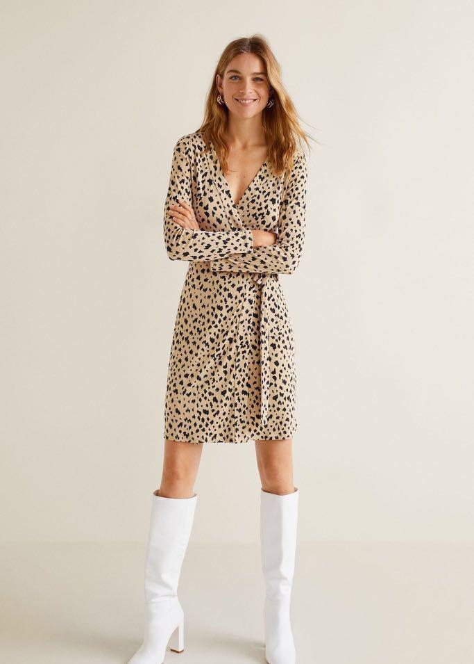 4400b581e01b Mango - Bow Beige Wrap Dress, Women's Fashion, Clothes, Dresses ...