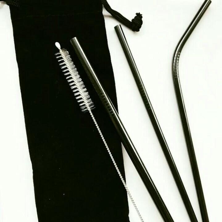 Sedotan Stainless Steel Black NEW