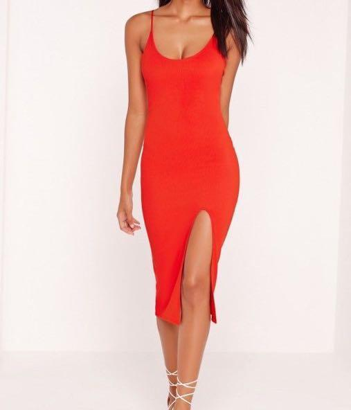 Missguided Strappy Scoop Neck Midi Dress Red - AU Size 6