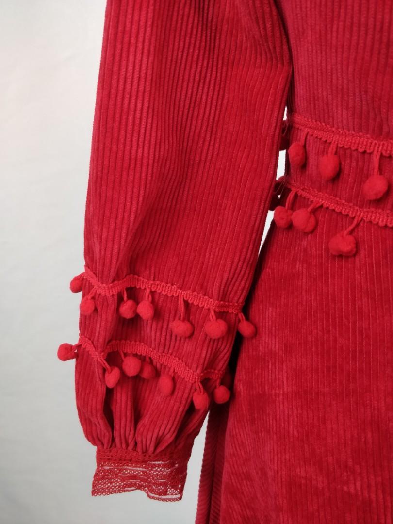 NWT ladies red corduroy dress with pompom size 4-6