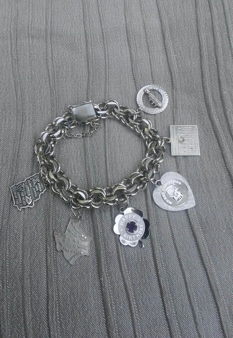 Stirling silver travel charm double curb  bracelet with charms