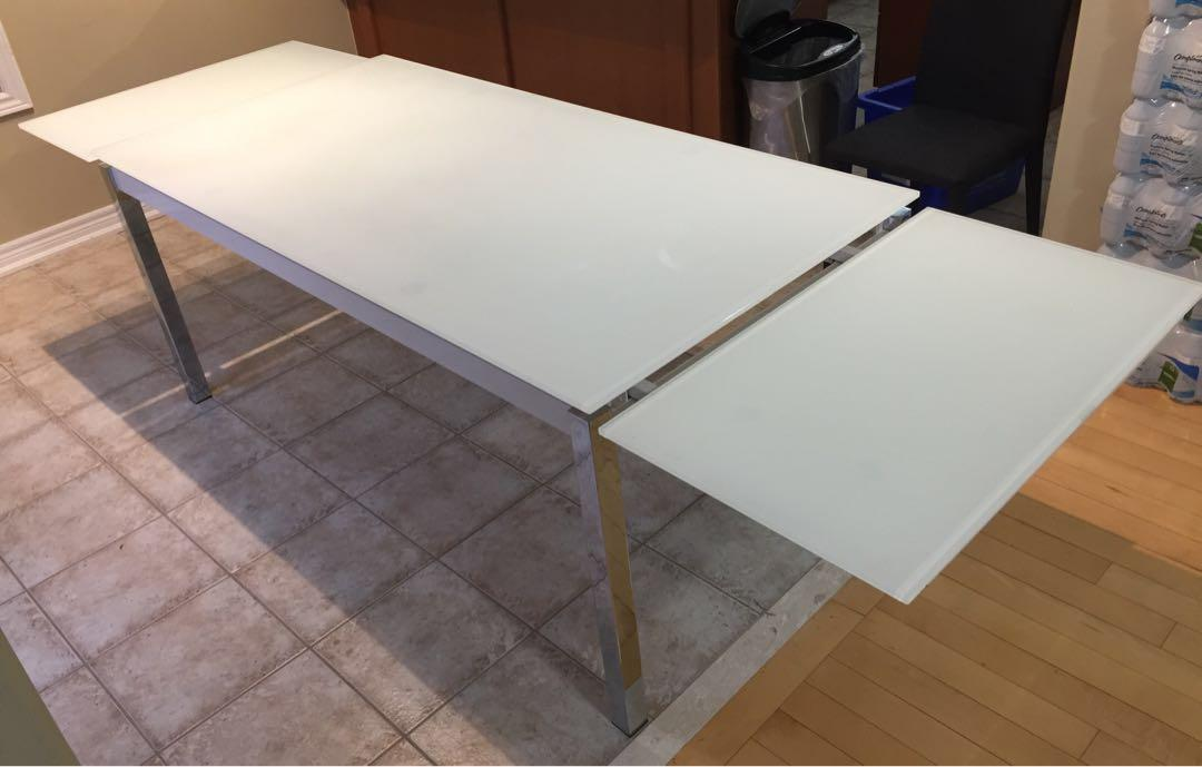 Tempered Glass Dining Table W/Extension, Stainless Steel, White