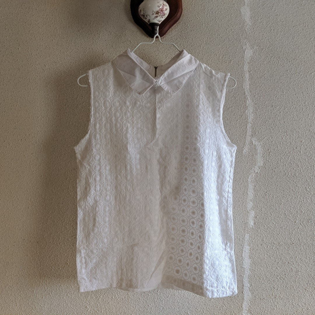 81122e9faa9d28 white lace blouse eyelet, Women's Fashion, Clothes, Tops on Carousell