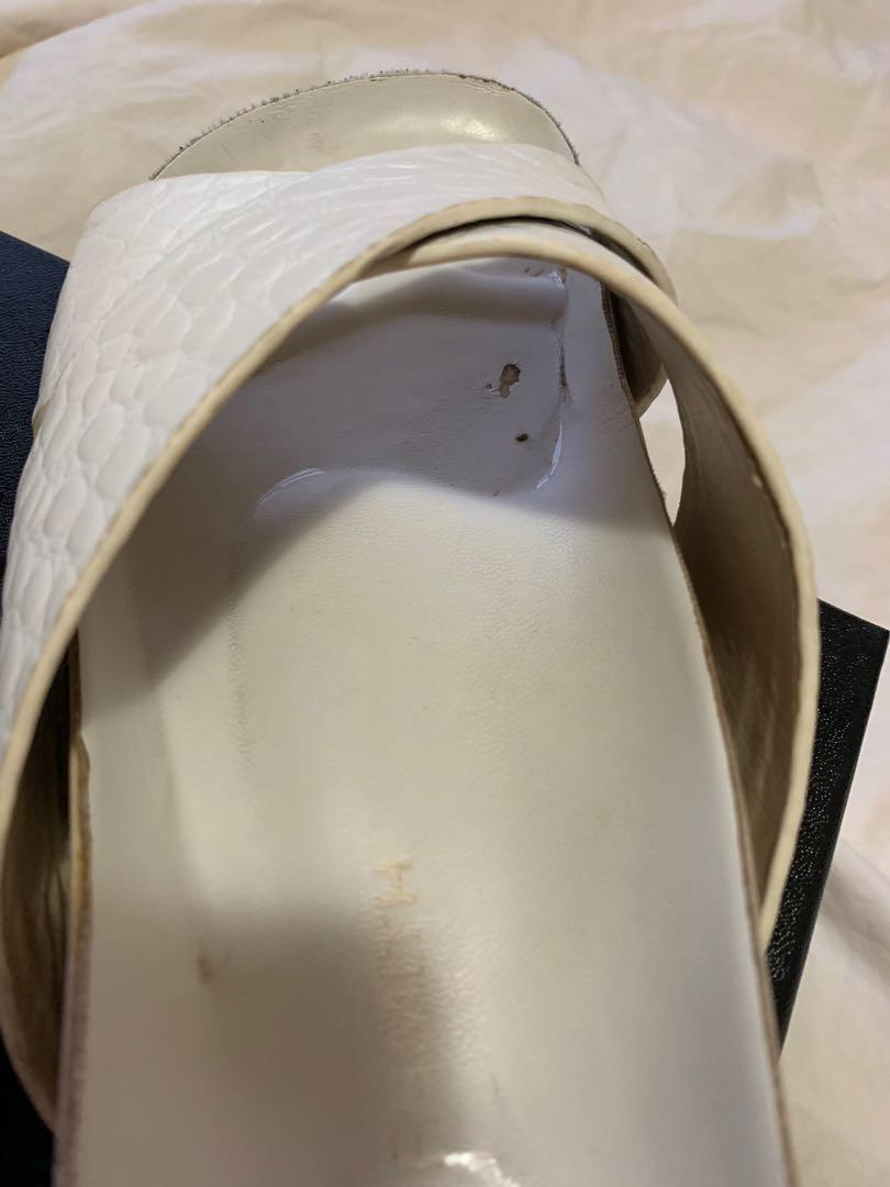 Windsor Smith Cara White Mock Croc Slides - AU Size 6