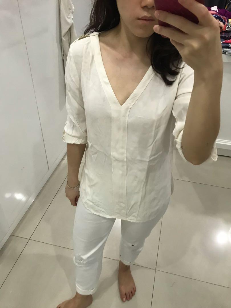 Zara basic white top with stud detail