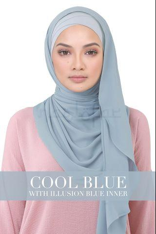 BE LOFA INSTANT HEAVY CHIFFON - Cool Blue (with illusion blue inner)