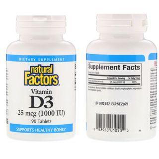 [ 強骨健齒] [ 代購 ] Natural Factors, Vitamin D3 維他命 D3, 1000 IU ( 90片 )