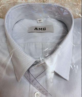 男仕長袖襯衫(淺藍線條)14號半