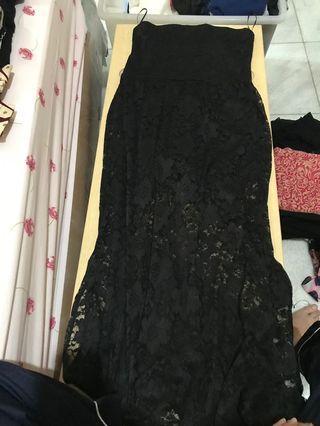 Black Dress tube lace hnm
