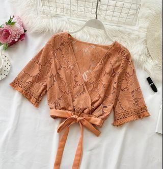 🚚 Korean Open Lace Top (Orange)