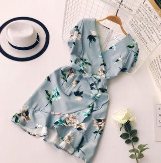 Korean Blue Floral Dress