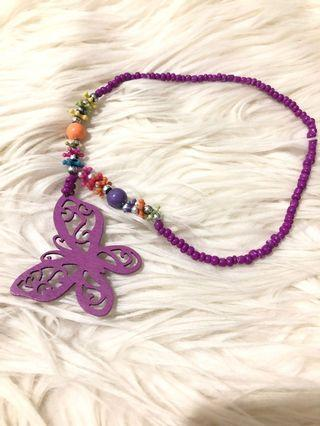 #mauthr Kalung Anak Wooden Necklace Kalung Butterfly