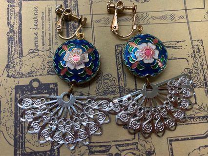 民族風耳環(耳夾)