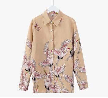 Streetwear Apricot Crane Blouse