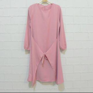 Tunik Pink (Soft Pastel Front Tied Tunic in Blushing Pink)