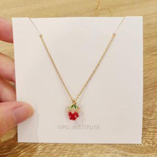 全新韓國可愛草莓🍓項鏈鎖骨鍊首飾墜飾
