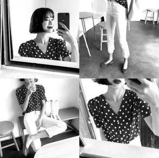 🚚 [Black & White] Retro Polka Dot Blouse