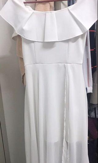 White dinner offshoulder dress