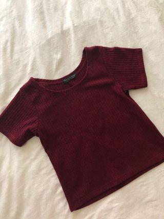 Maroon Top + Red Skirt Set