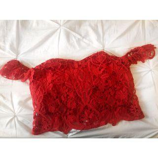 Red Bardeau Top