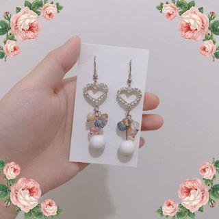 🚚 超可愛✨愛心珠珠耳環