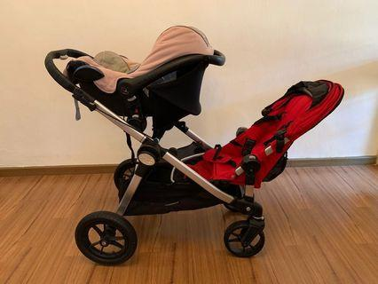 Marked down! Baby Jogger City Select double stroller comes with Maxicosi seat!