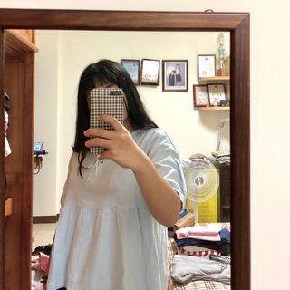 水藍色蝴蝶結韓系上衣