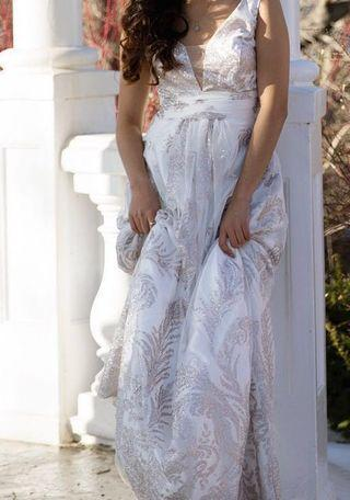 PROM Fancy White Dress with Silver Sparkles