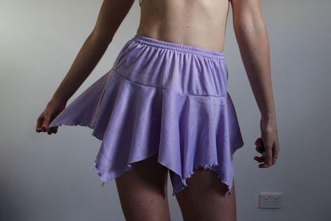 Purple faux Von Dutch skirt