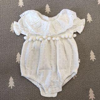 🚚 66cm Baby Girl Princess Romper white