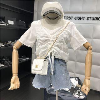 🚚 韓國抽繩上衣米白色