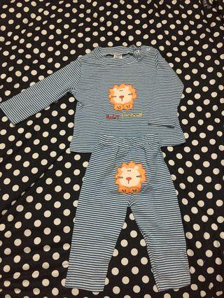 Carter's Sleepsuits Strip Blue Lion