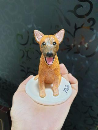 Customise dog figurine ( mongrel) made of polymer clay