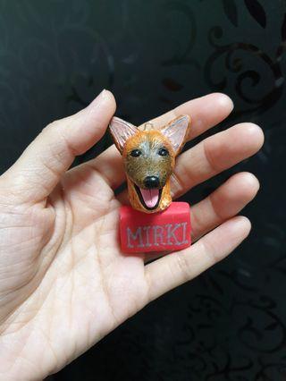 Customise dog figurine ( keychain) made of polymer clay