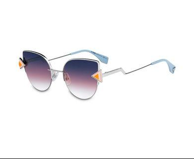 🚚 Fendi Eyewear - cat eye sunglasses - women - Metal (Other)  - Blue