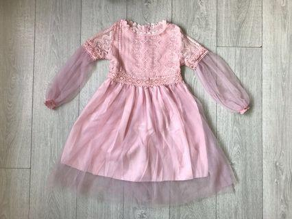 Korean Style Sweet Pink Princess-Lace-Dress