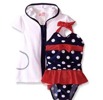 🚚 Baby Girl Swim Wear with Terry Cover Up 2pcs Set