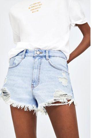 zara denim ripped shorts (light wash)