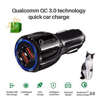 QC3.0 Car Charger with Dual USB Ports 3.1A Fast Charging Car Kit