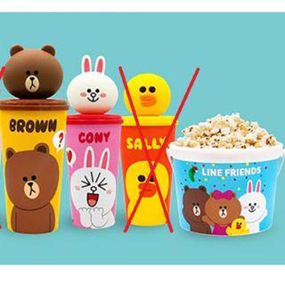 泰國限定~Line Friend 杯 (Brown & Cony) 連爆谷桶