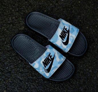 Nike Benassi Slide Blue Camo Black